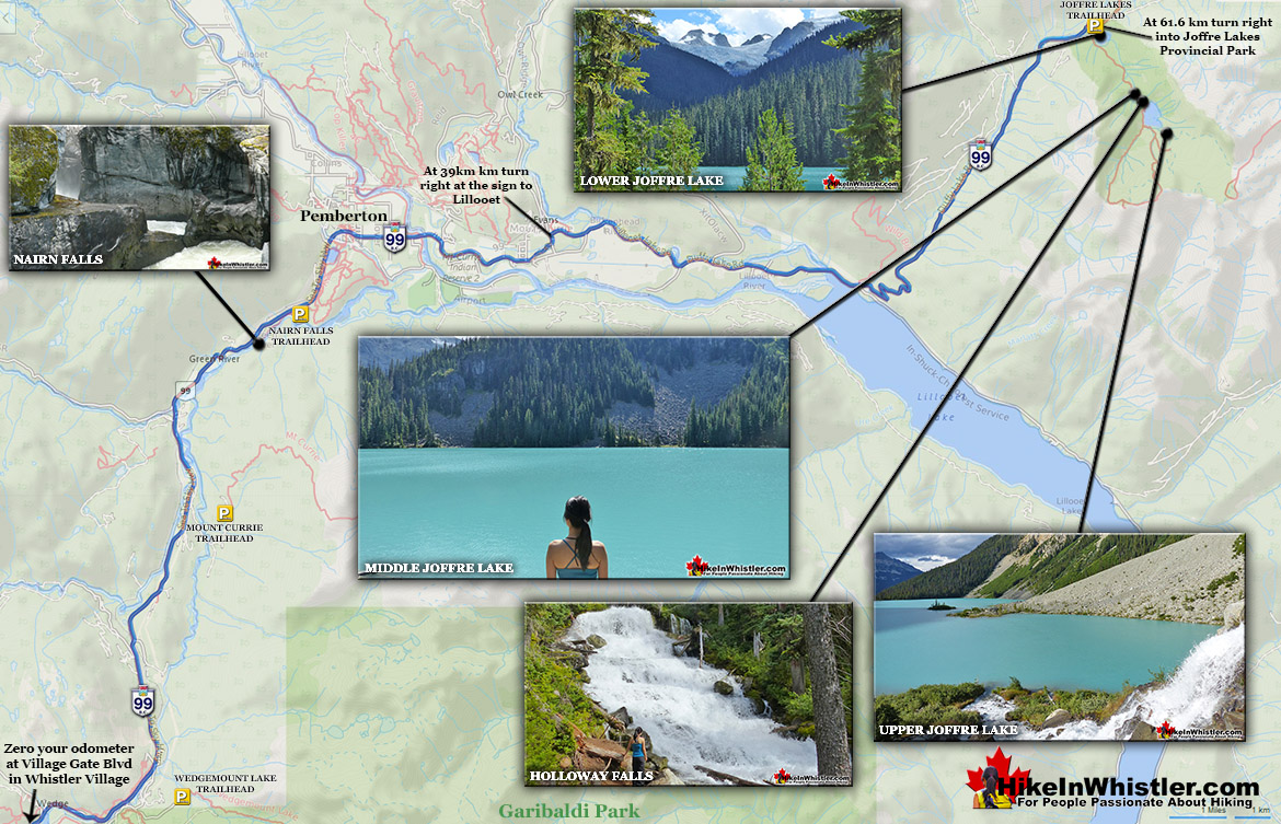 Joffre Lakes Driving Directions Map