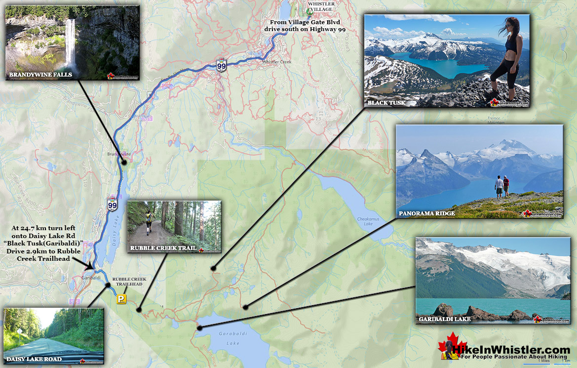 Rubble Creek Trail to Black Tusk Map