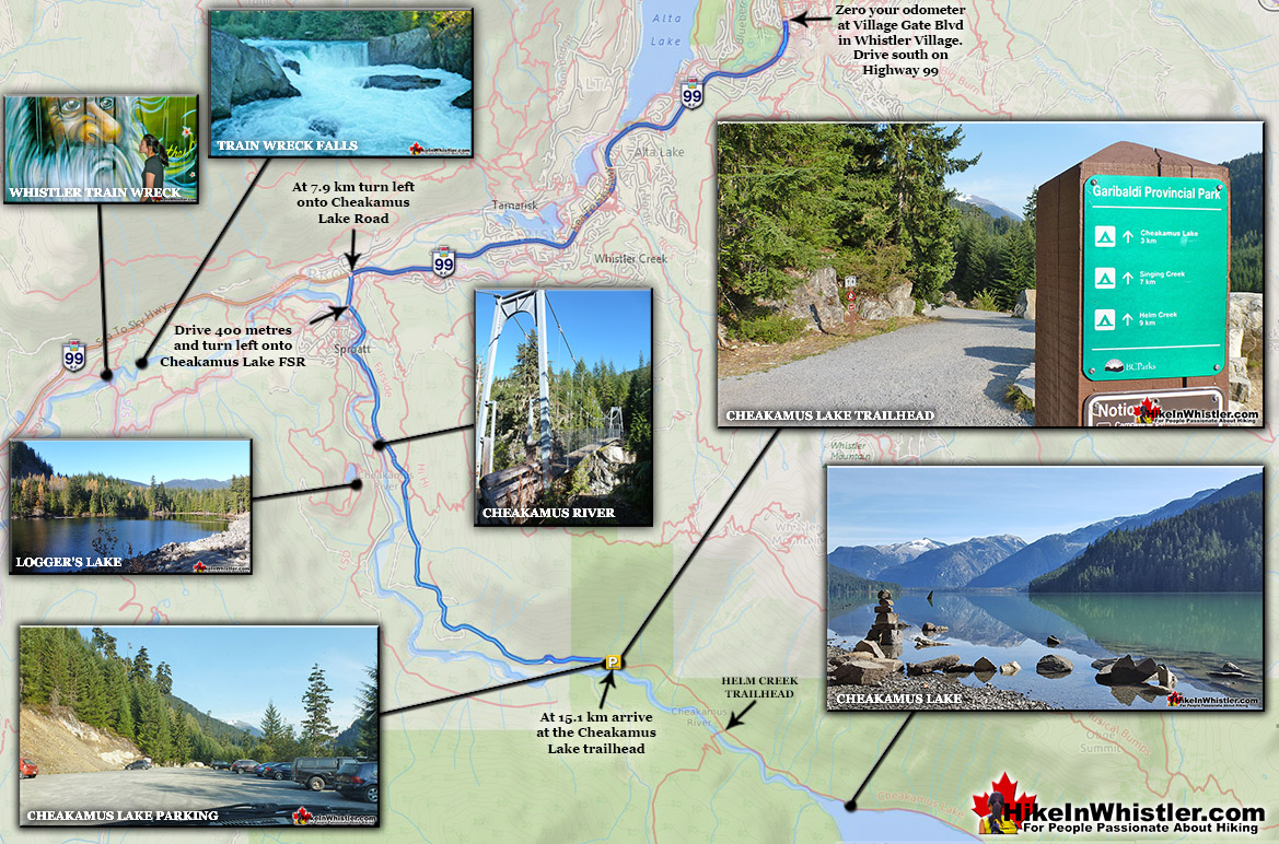 Cheakamus Lake Trailhead Map to Helm Creek