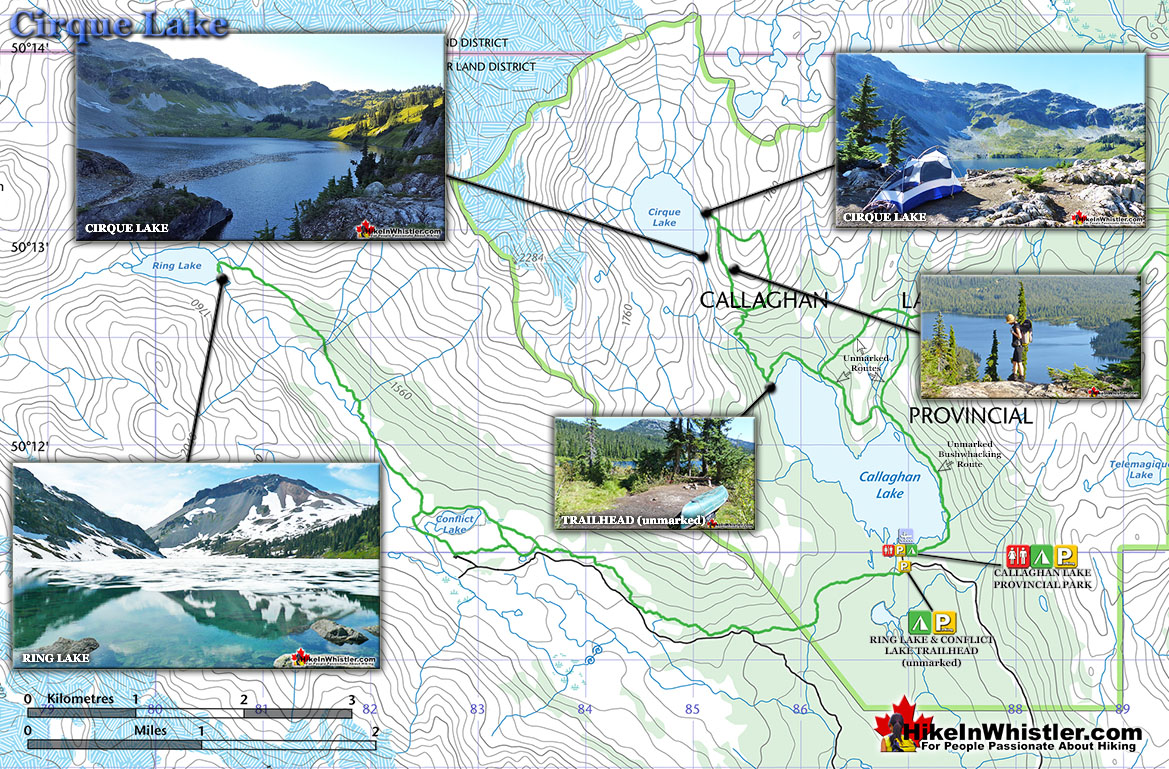 Cirque Lake Hiking Trail Map
