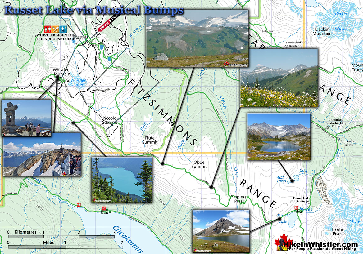 Whistler Mouintain Singing Pass Map to Russet Lake